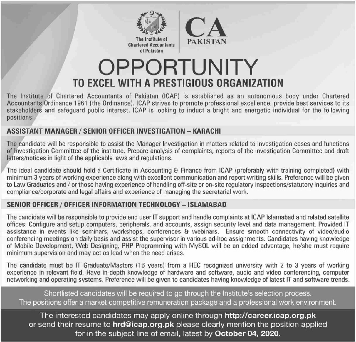 Institute of Chartered Accountants of Pakistan ICAP Jobs September 2020