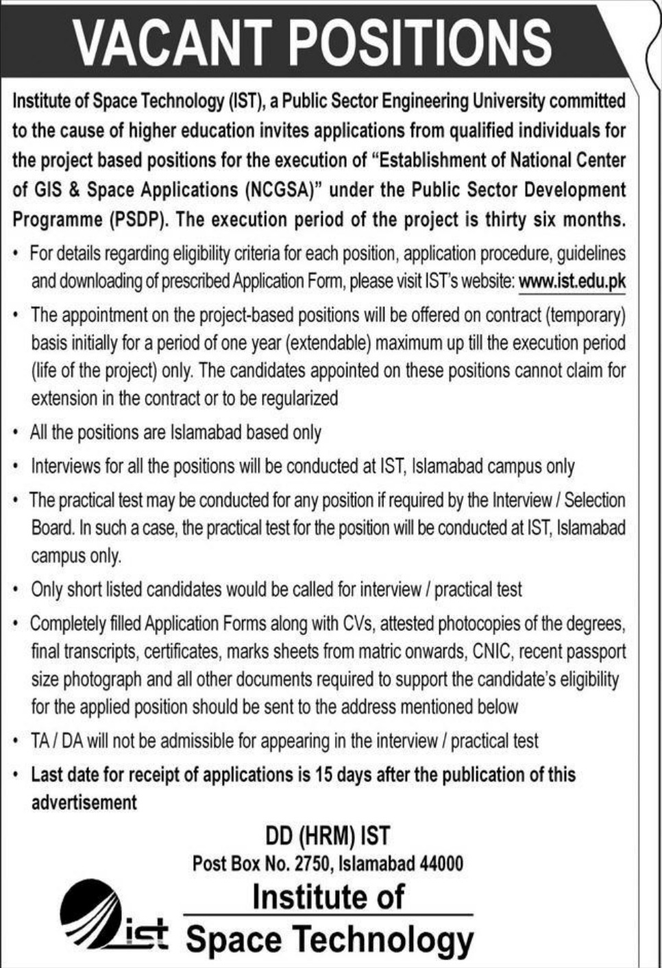 Institute of Space Technology IST Islamabad Jobs September 2020