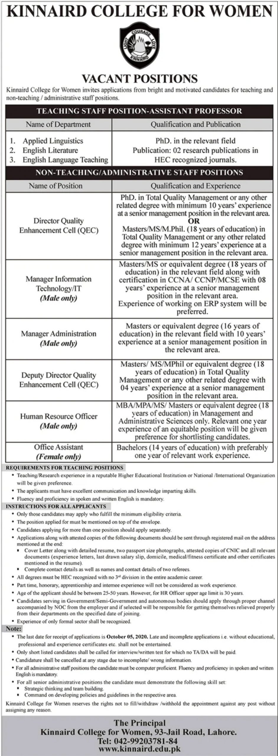 Kinnaird College for Women Jobs September 2020
