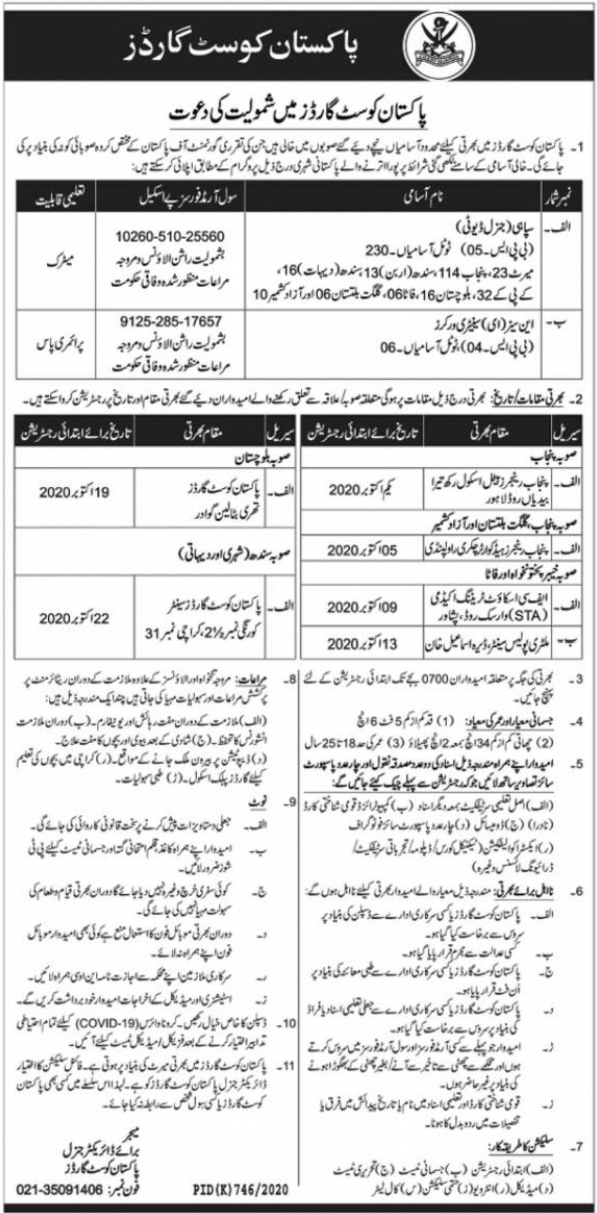 Pakistan Coast Guards Jobs September 2020