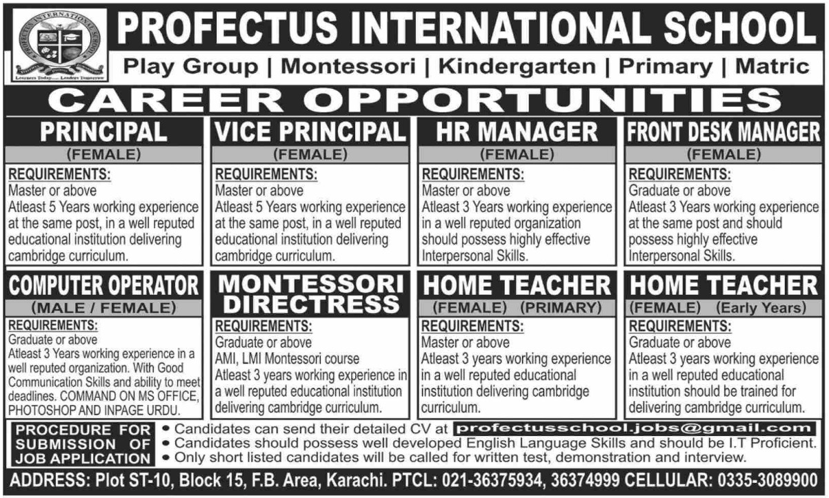 Profectus International School Karachi Jobs September 2020