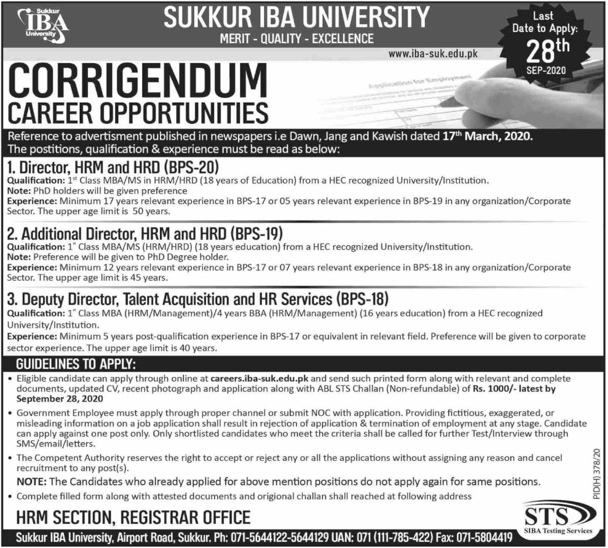 Sukkur IBA University Sindh Jobs September 2020