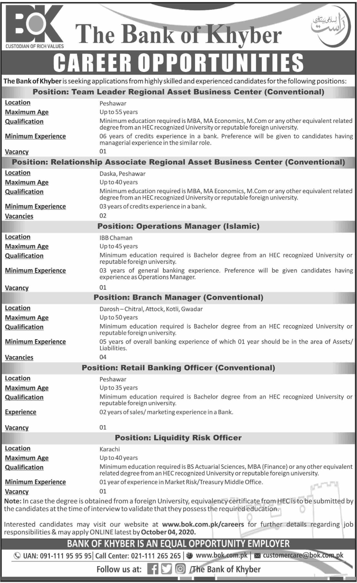 The Bank of Khyber Jobs September 2020