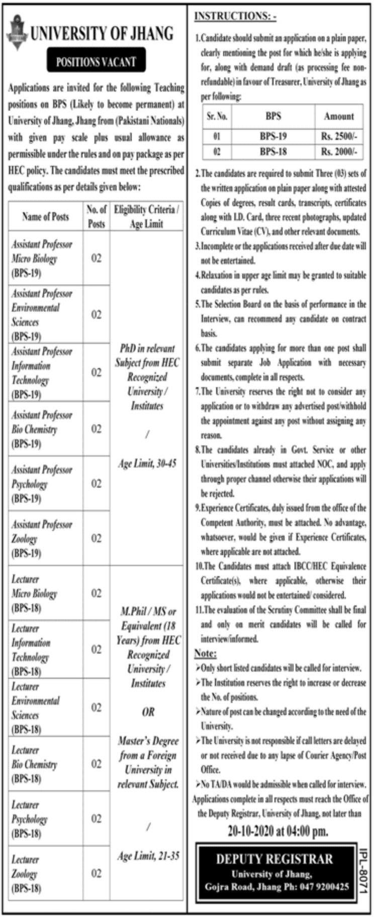 University of Jhang Jobs September 2020
