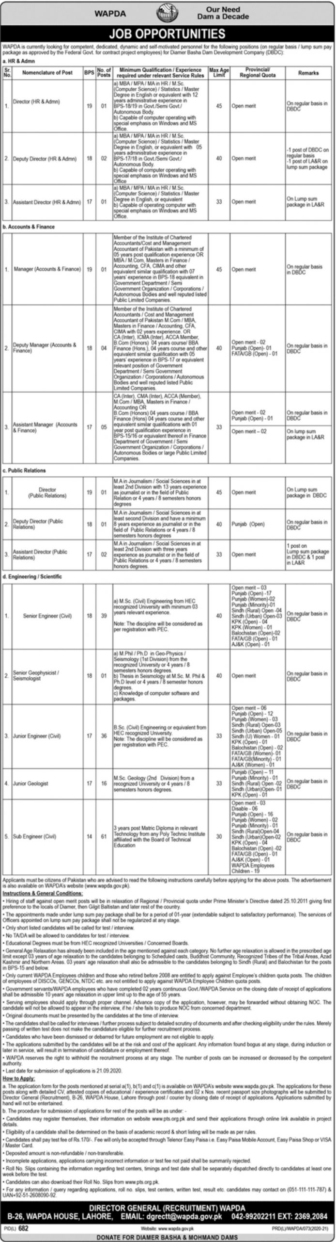 Wapda Jobs September 2020 Apply through PTS