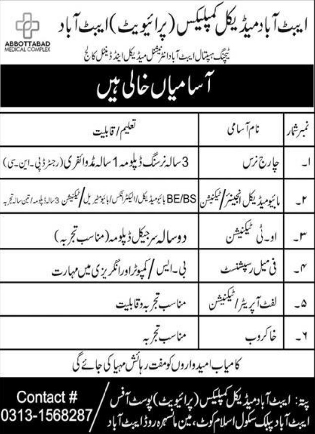 Abbottabad Medical Complex Jobs October 2020
