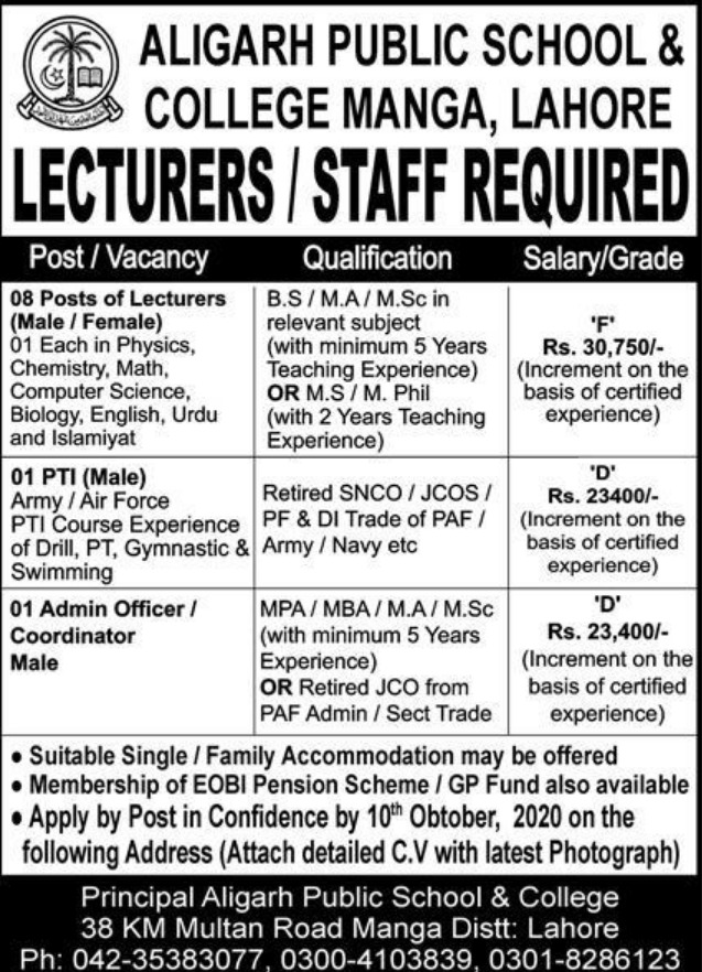 Aligarh Public School & College Manga Lahore Jobs October 2020
