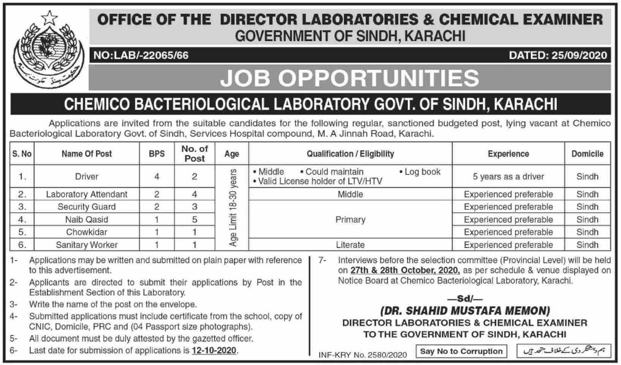 Chemico Bacteriological Laboratory Sindh Jobs October 2020