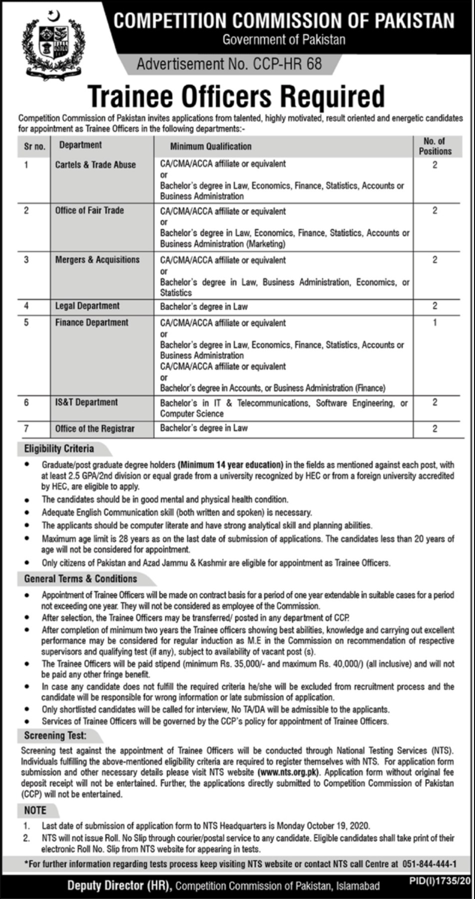 Competition Commission of Pakistan Trainee Officers Jobs October 2020