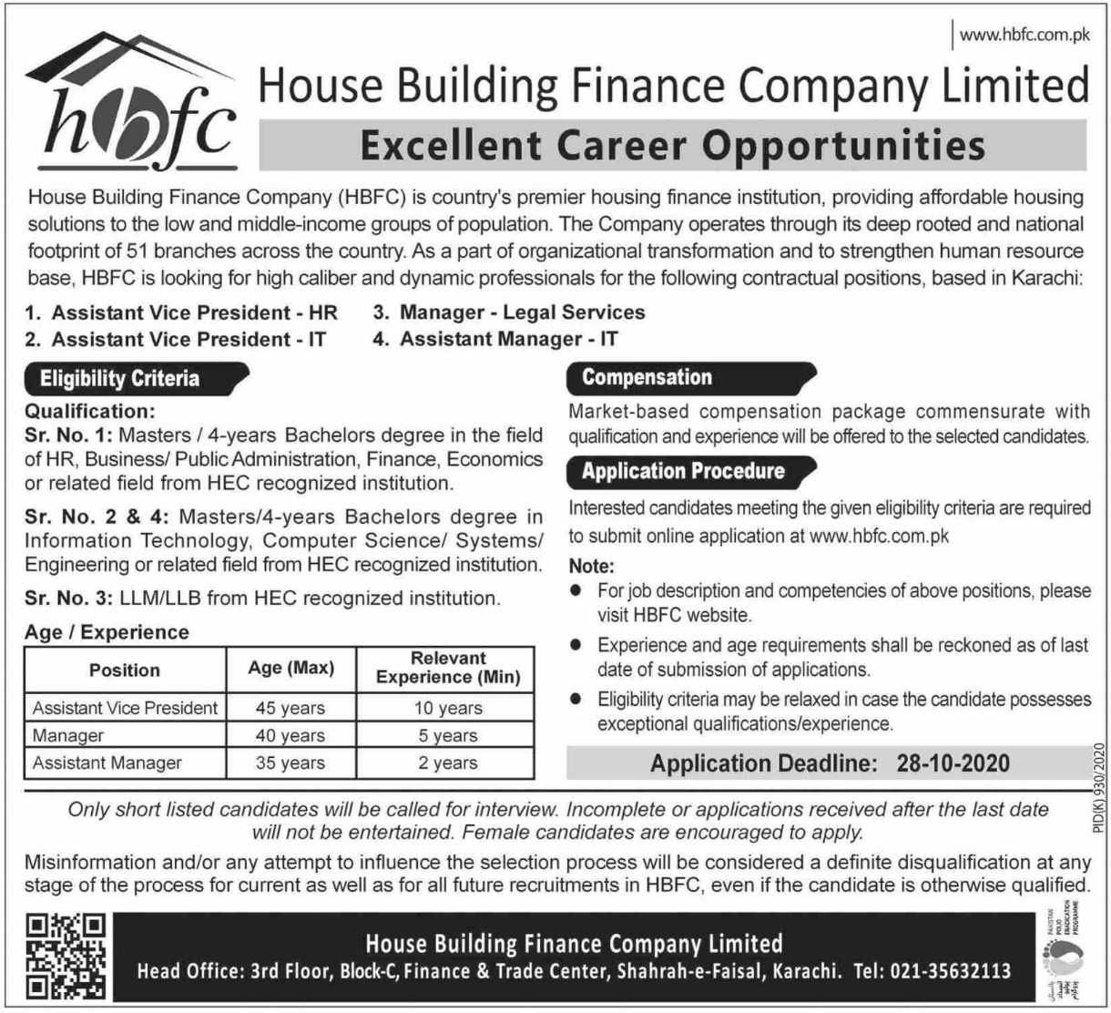 HBFC Jobs October 2020 House Building Finance Company Limited