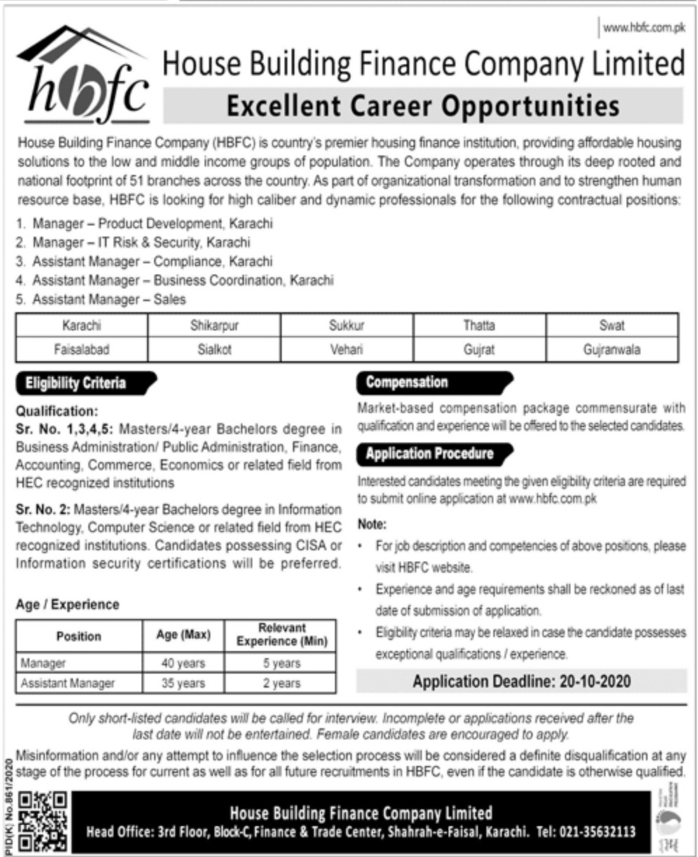 House Building Finance Company Limited HBFC Jobs October 2020