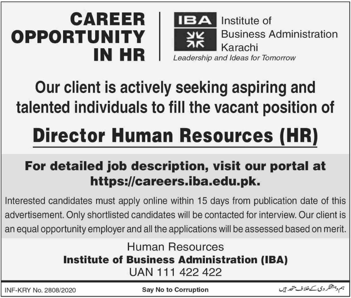 Institute of Business Administration IBA Karachi Jobs October 2020