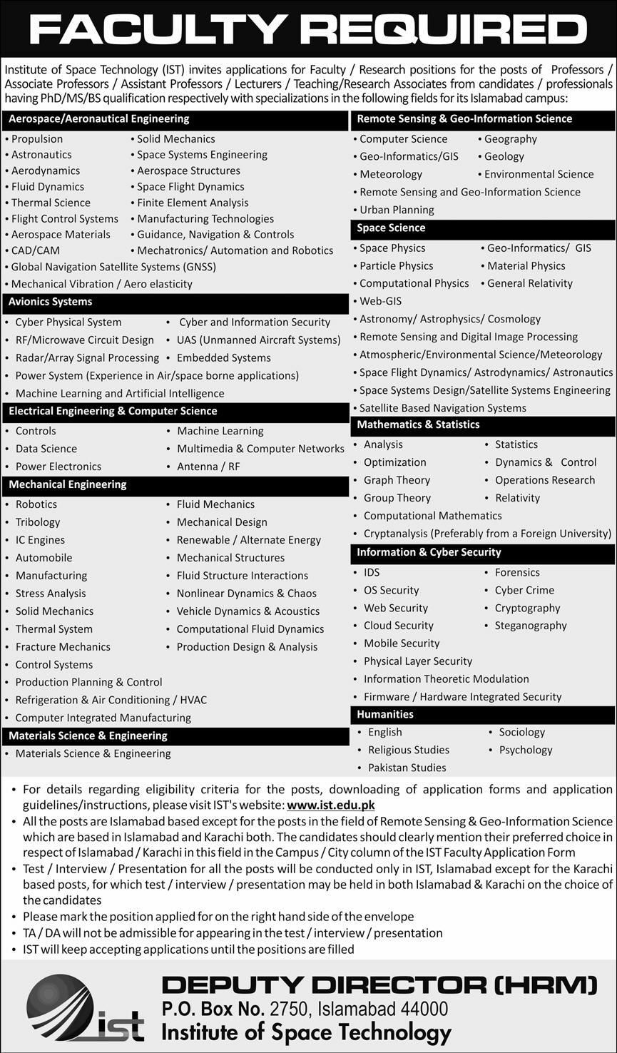 Institute of Space Technology IST Jobs October 2020