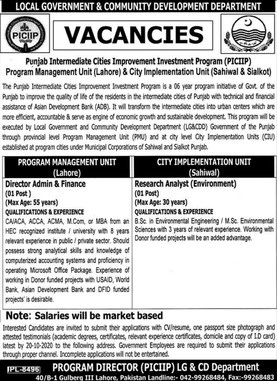 LG & CD Department Punjab Jobs October 2020