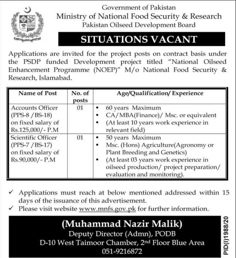Ministry of National Food Security & Research Jobs October 2020