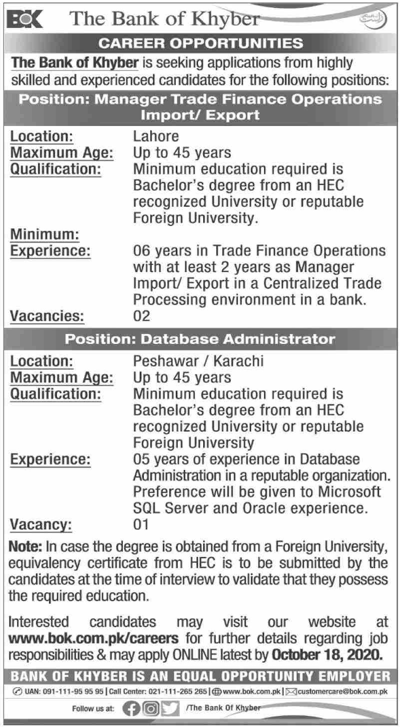The Bank of Khyber Jobs October 2020 Apply Online