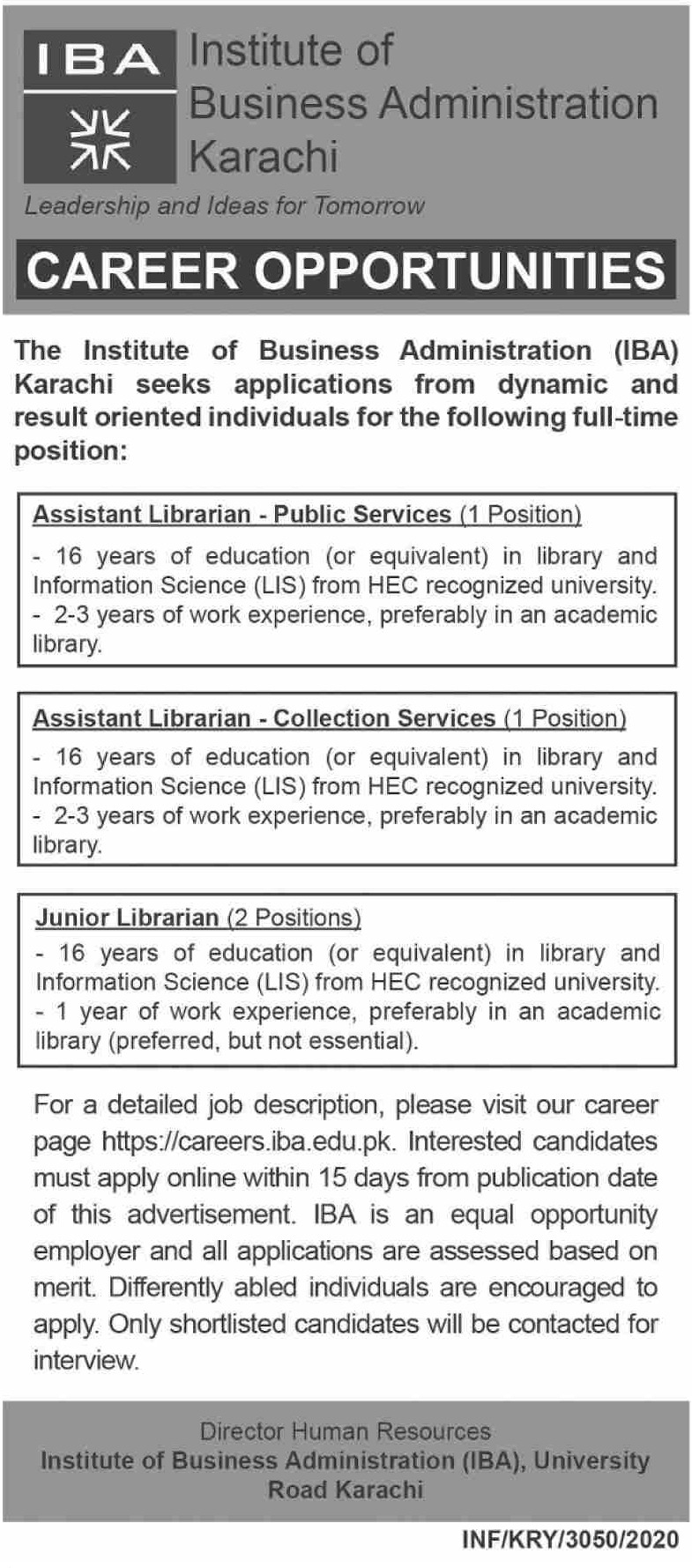 IBA Karachi Jobs November 2020 Institute of Business Administration