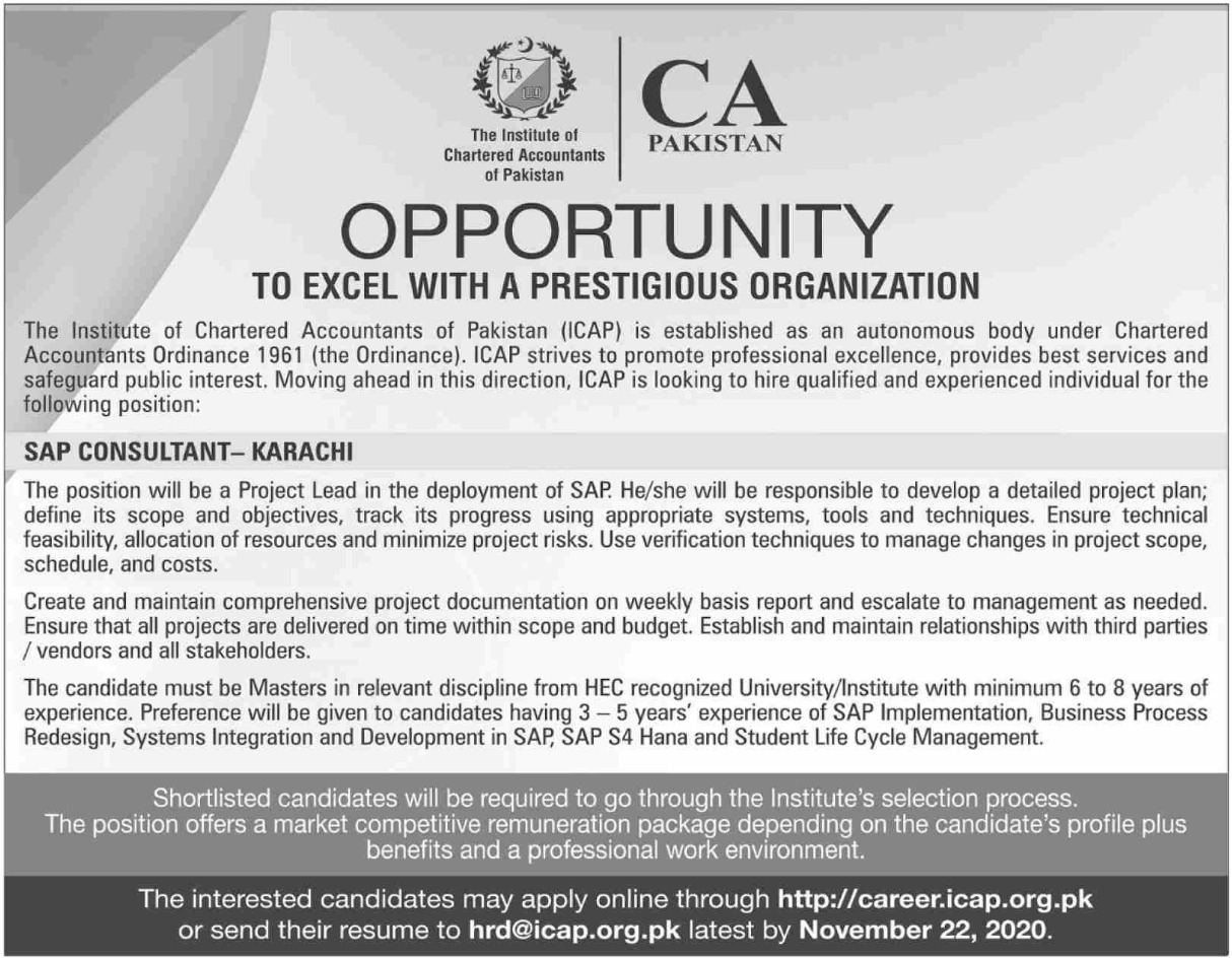 ICAP Jobs November 2020 CA Pakistan
