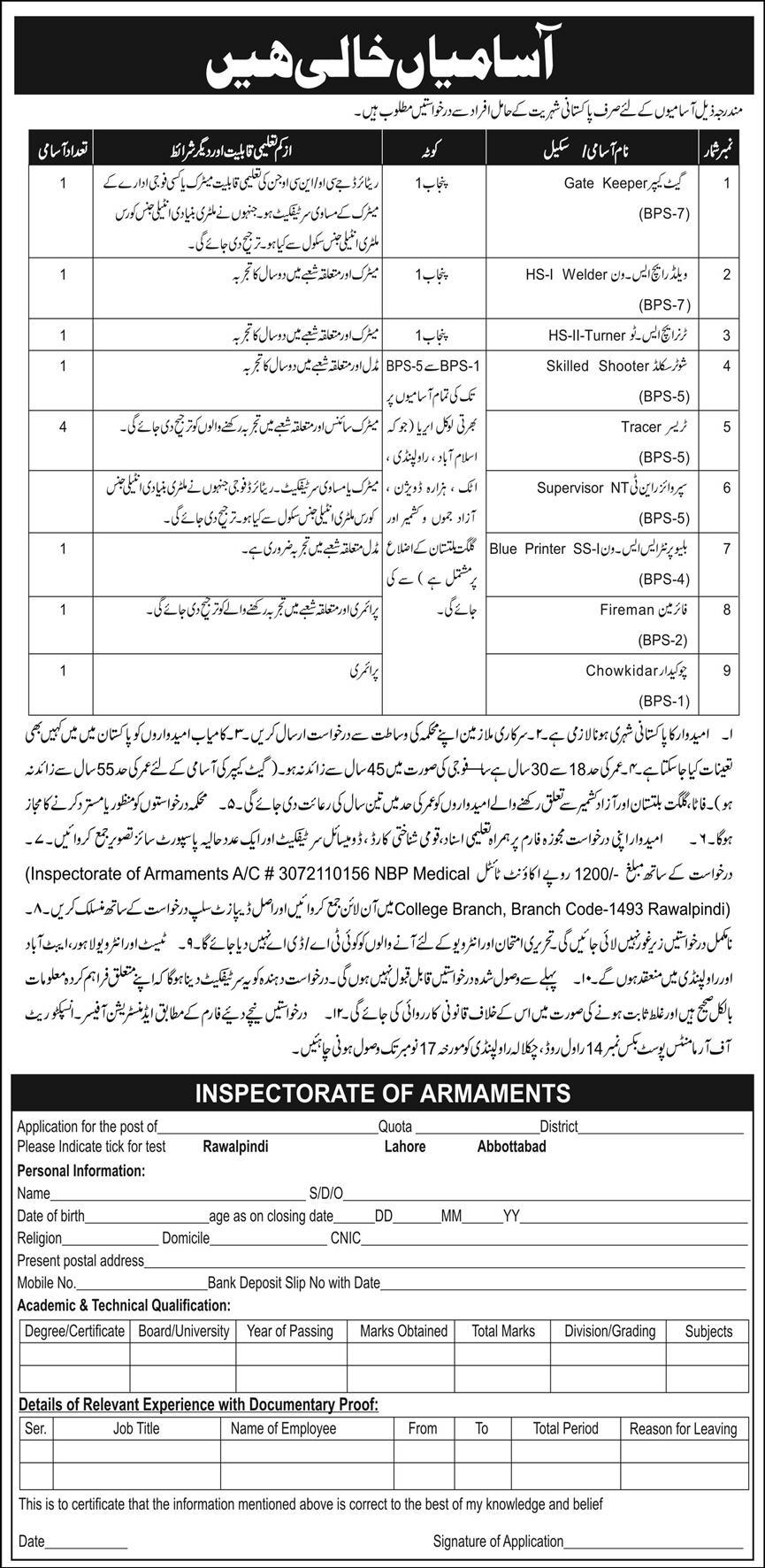 Inspectorate of Armaments Rawalpindi Jobs November 2020