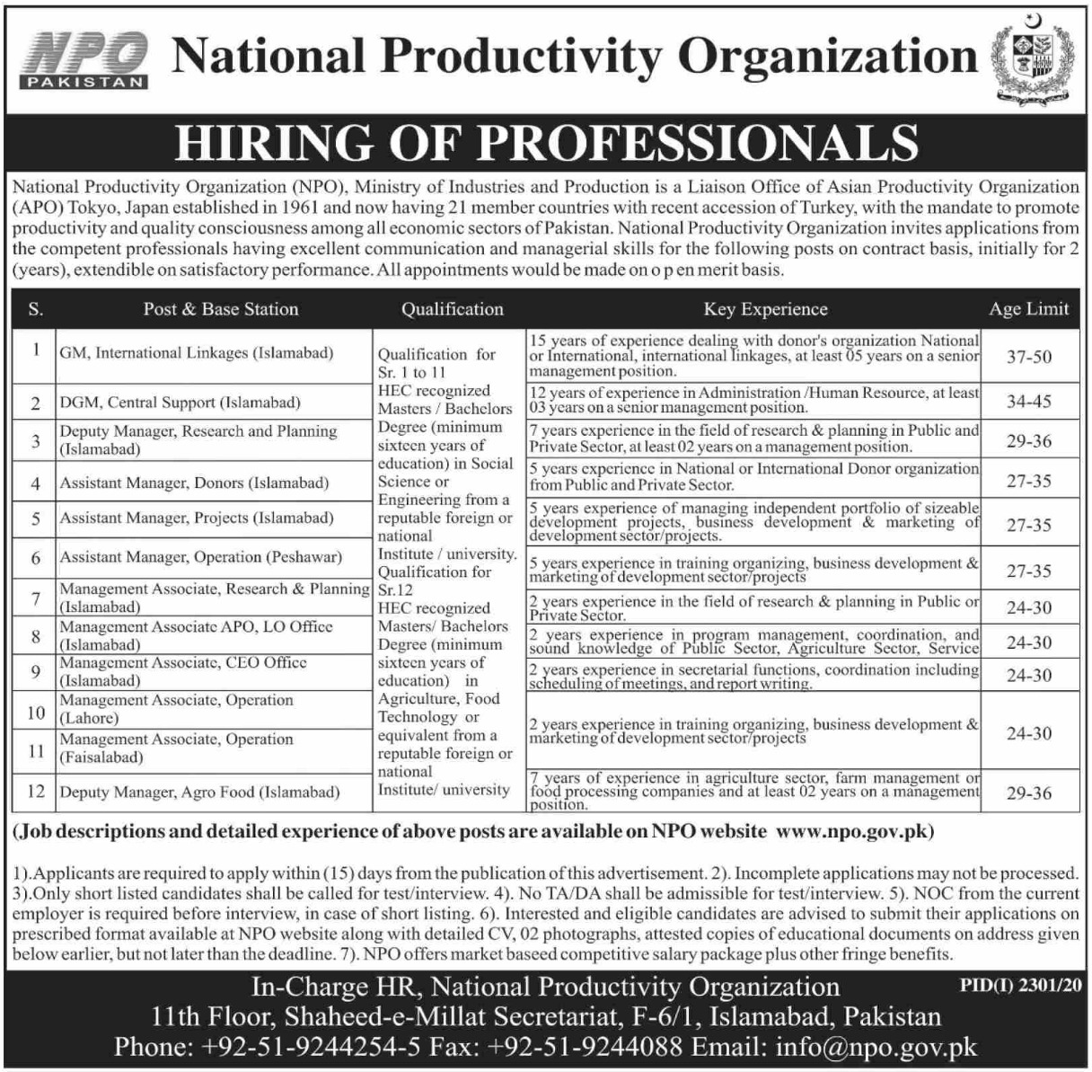 National Productivity Organization Jobs November 2020
