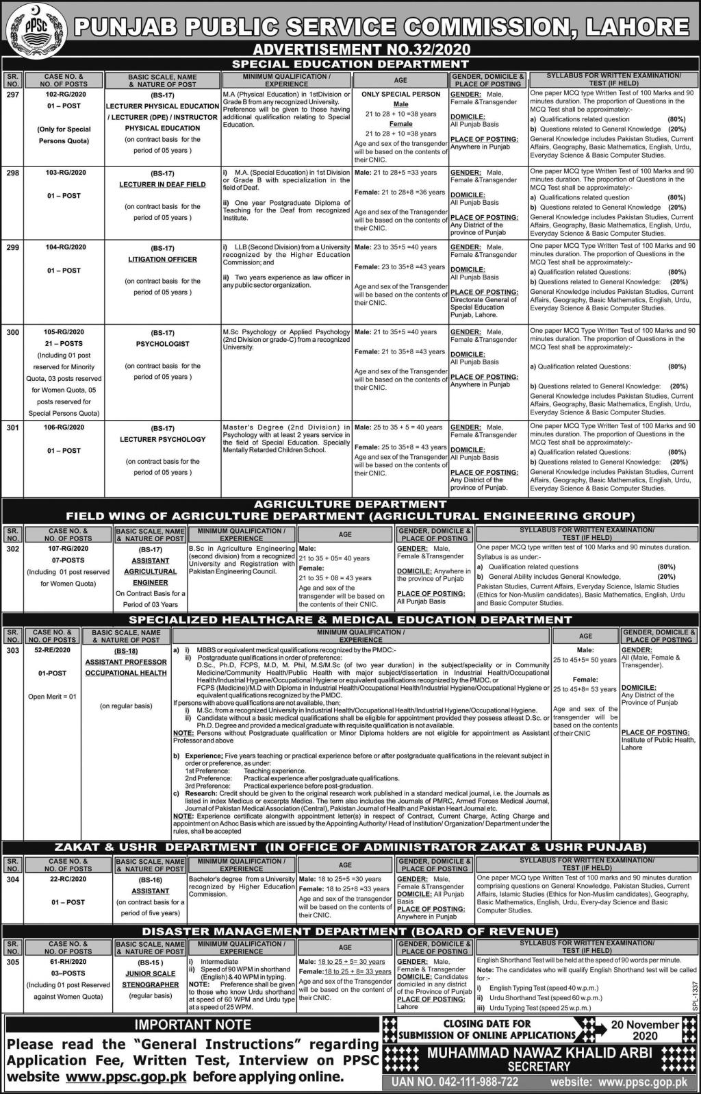 PPSC Jobs November 2020 Punjab Public Service Commission