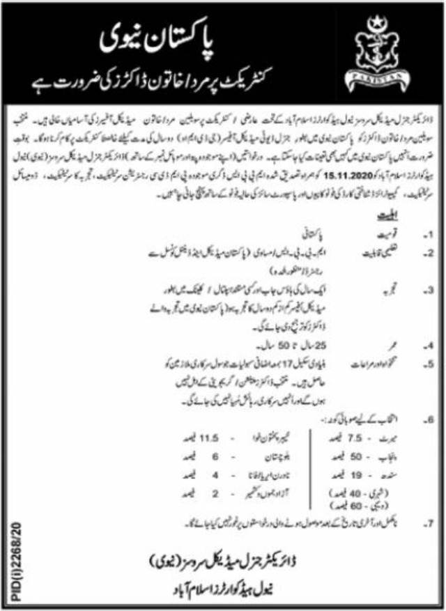 Pakistan Navy Jobs November 2020