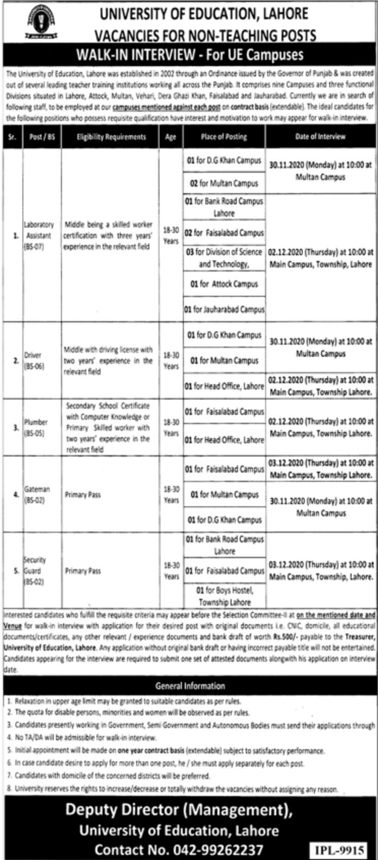 University of Education Lahore Jobs November 2020