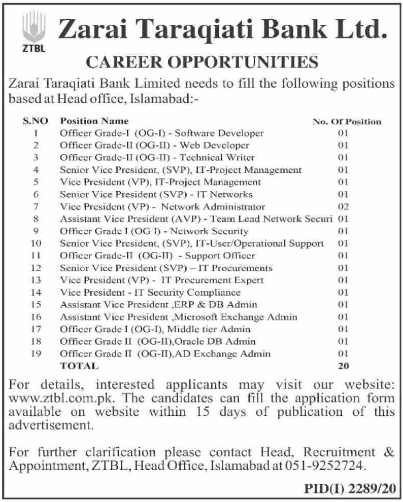 Zarai Taraqiati Bank Limited ZTBL Jobs November 2020