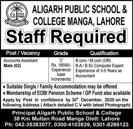 Aligarh Public School & College Manga Lahore Jobs December 2020