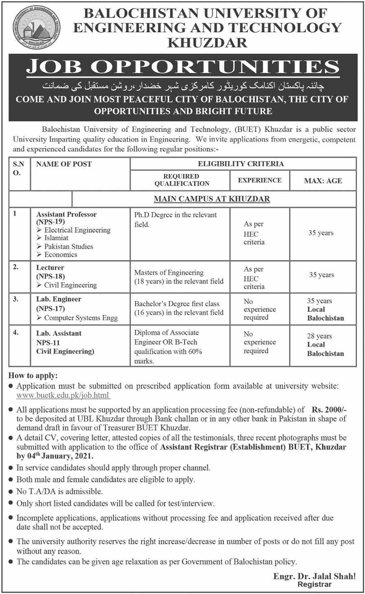 Balochistan University of Engineering & Technology BUET Khuzdar Jobs December 2020
