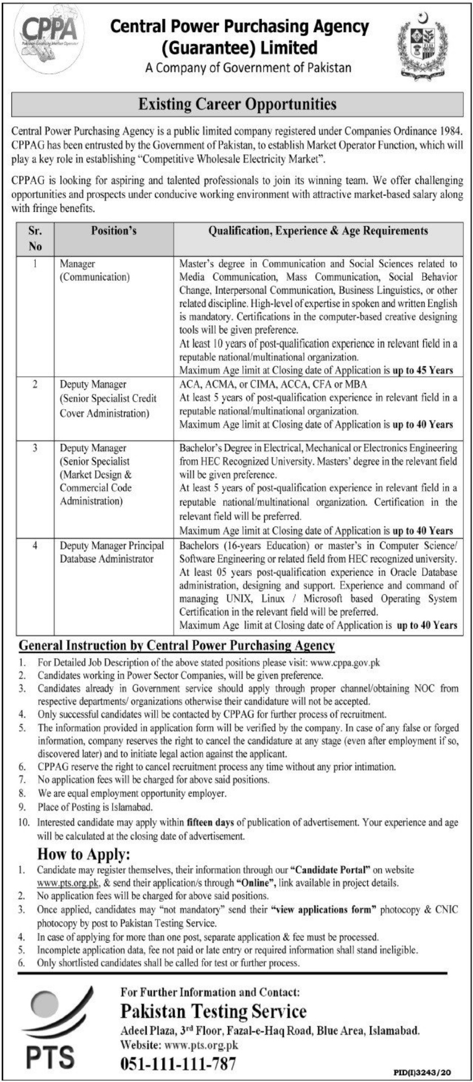 Central Power Purchasing Agency CPPA Wapda Jobs December 2020