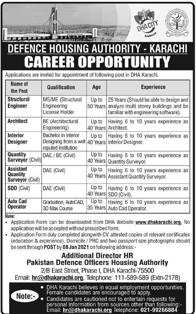 Defence Housing Authority DHA Karachi Jobs December 2020