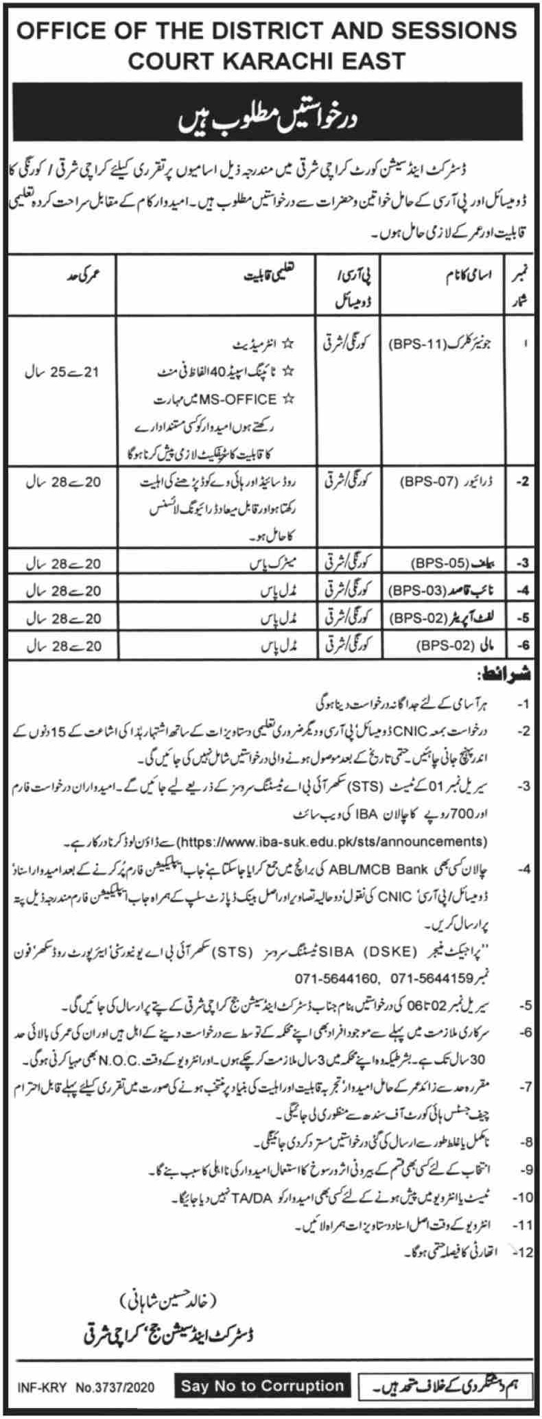District & Session Court Karachi Jobs December 2020