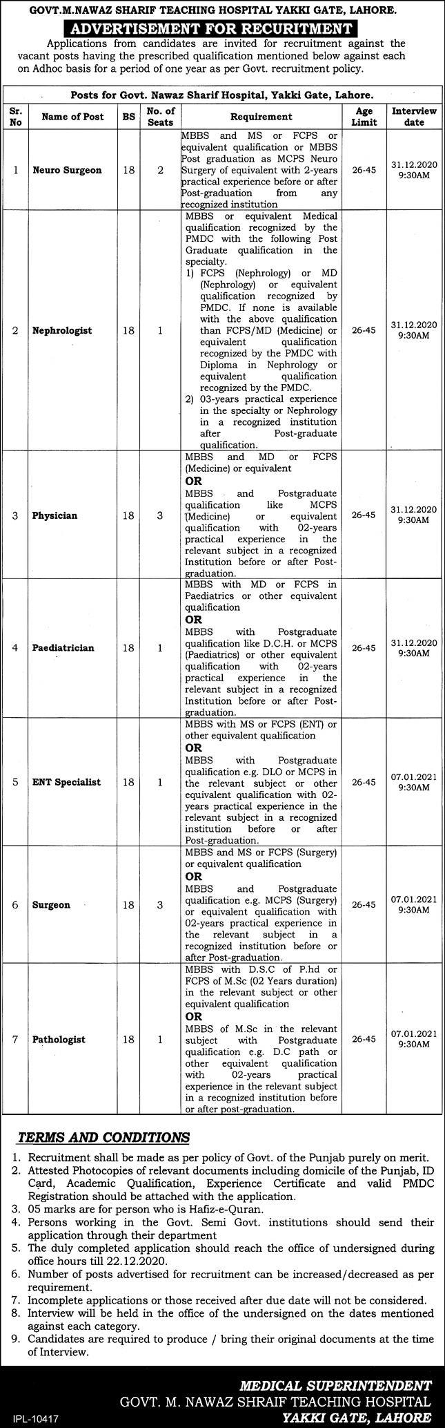 Govt. M. Nawaz Sharif Teaching Hospital Yakki Gate Lahore Jobs December 2020