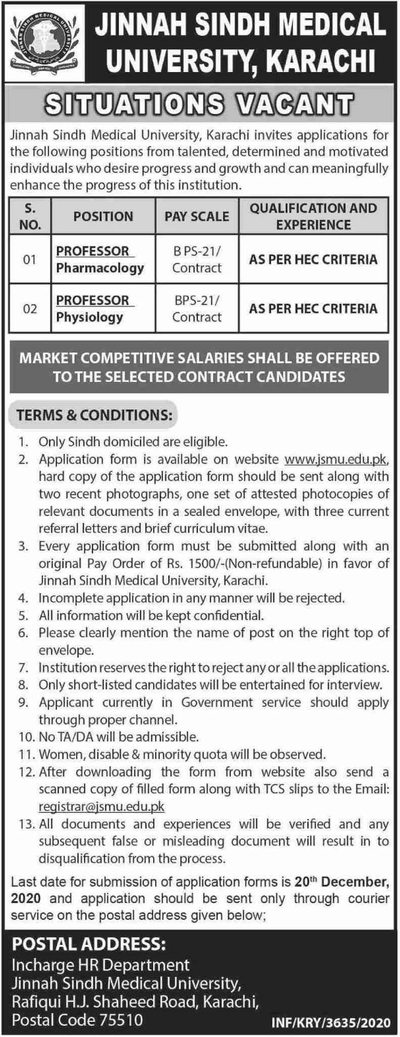 Jinnah Sindh Medical University JSMU Karachi Jobs December 2020
