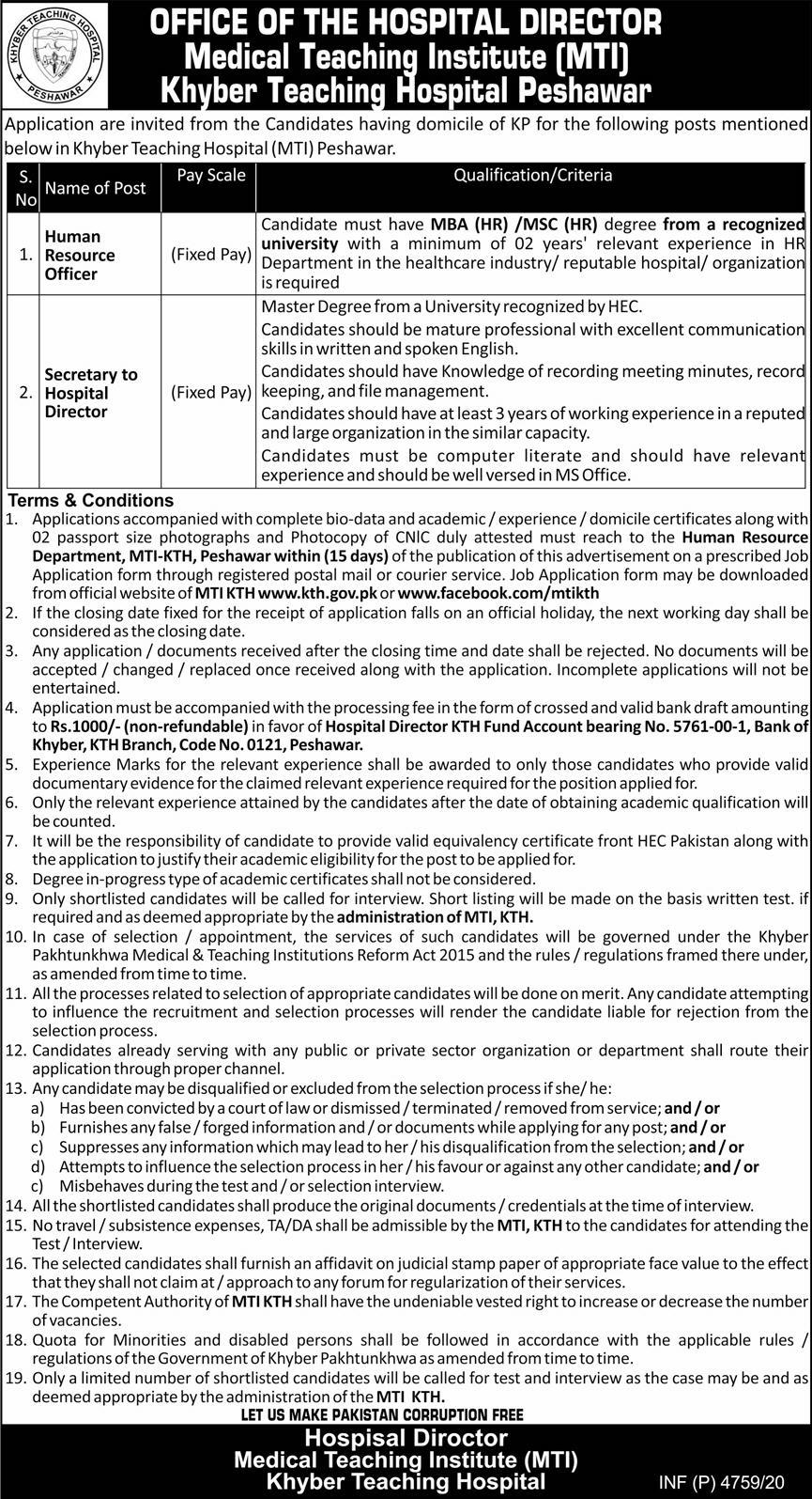Khyber Teaching Hospital KTH MTI Peshawar Jobs December 2020