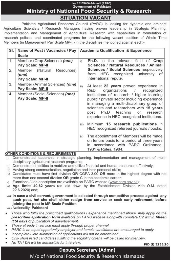 Ministry of National Food Security & Research Jobs December 2020