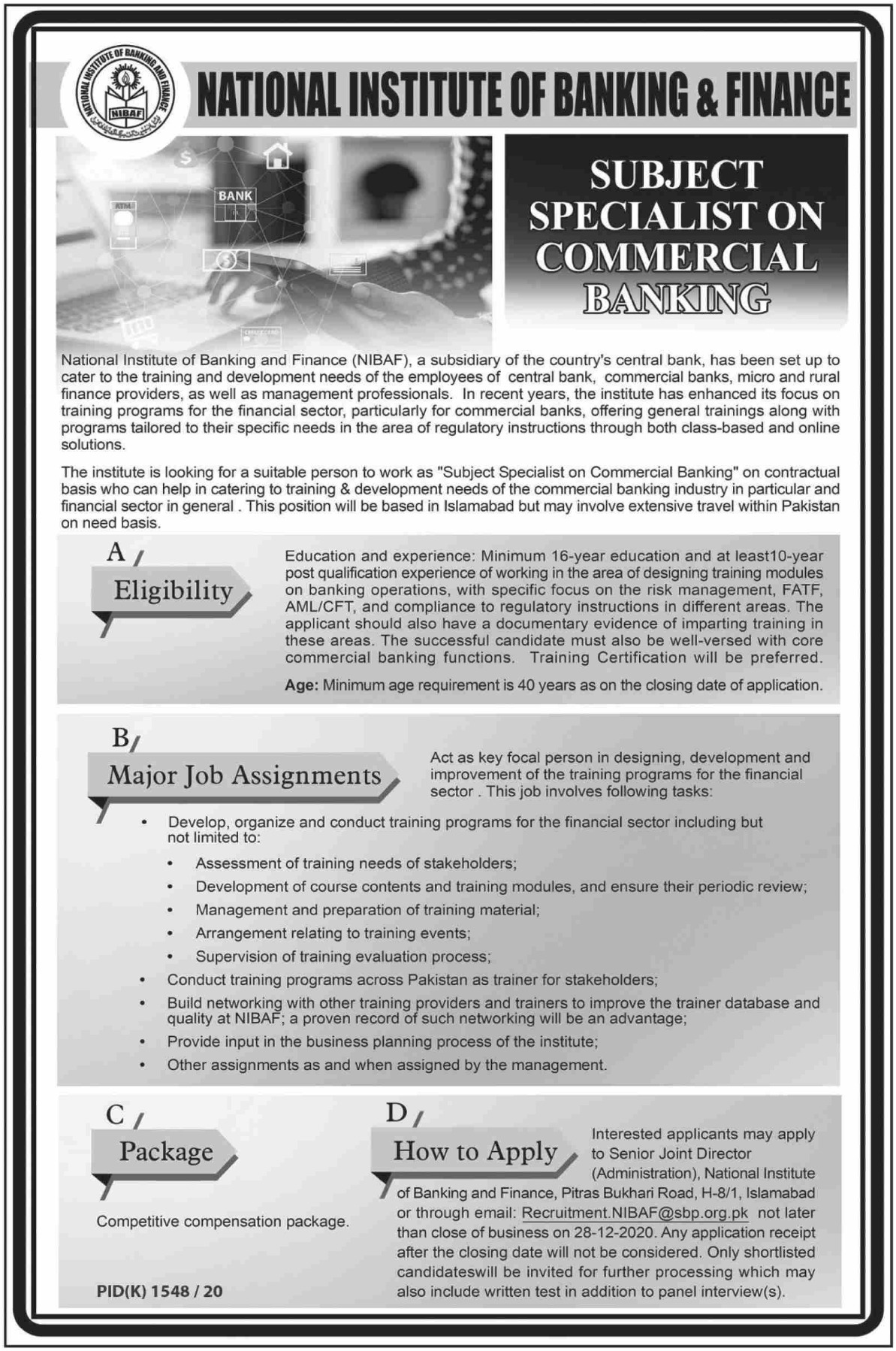 National Institute of Banking & Finance SBP Jobs December 2020