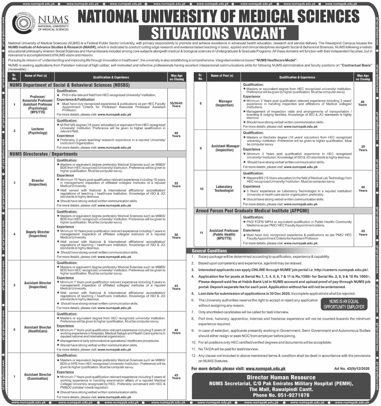 National University of Medical Sciences NUMS Rawalpindi Jobs December 2020