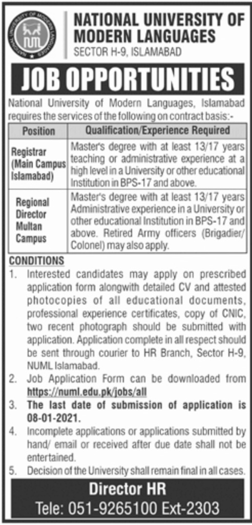 National University of Modern Languages NUML Jobs December 2020