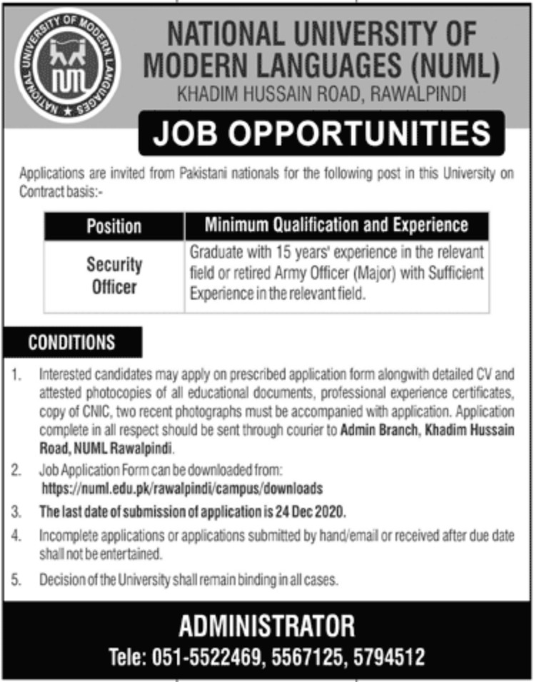 National University of Modern Languages NUML Rawalpindi Jobs December 2020