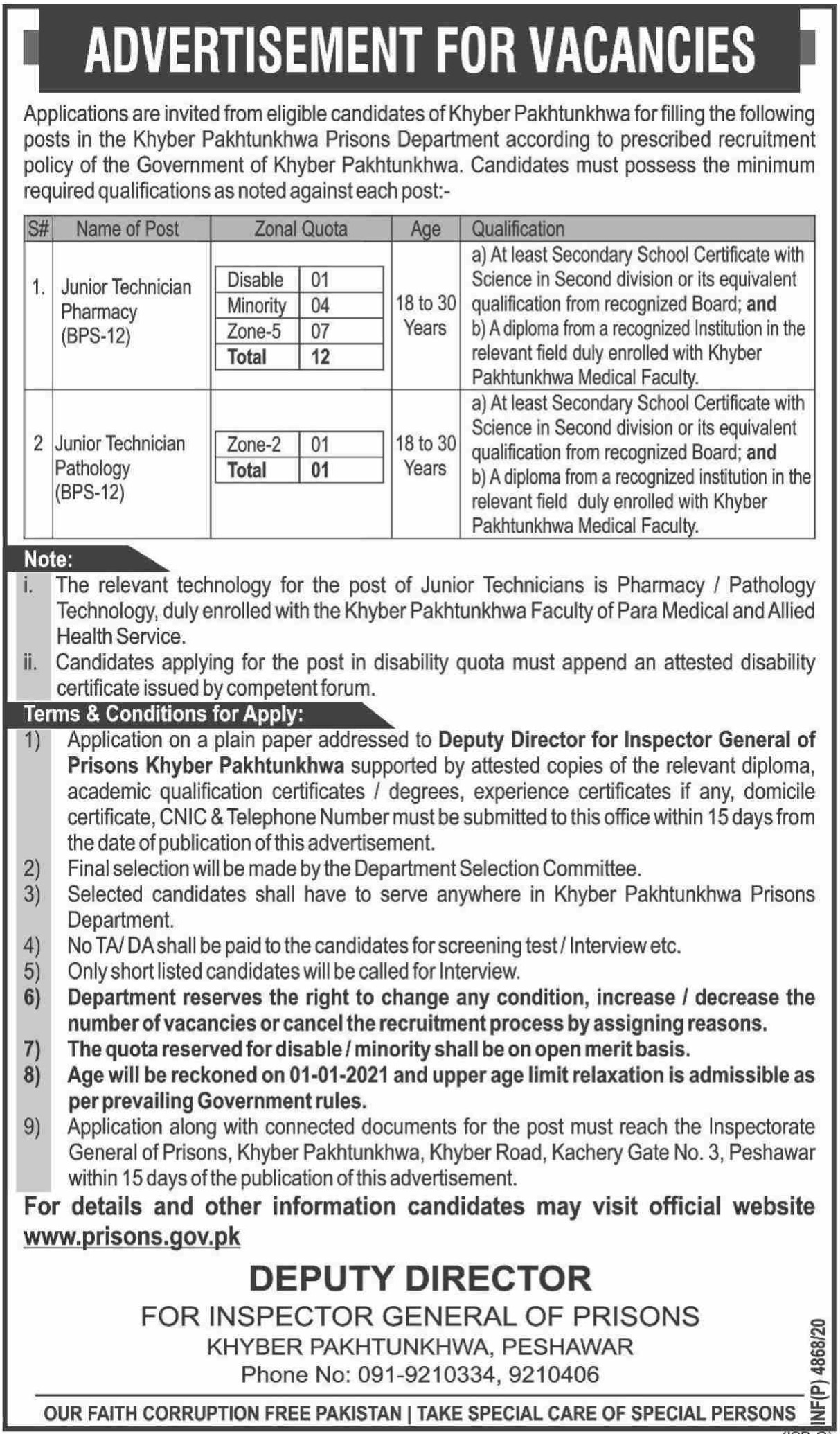Prison Department Government of Khyber Pakhtunkhwa Jobs December 2020