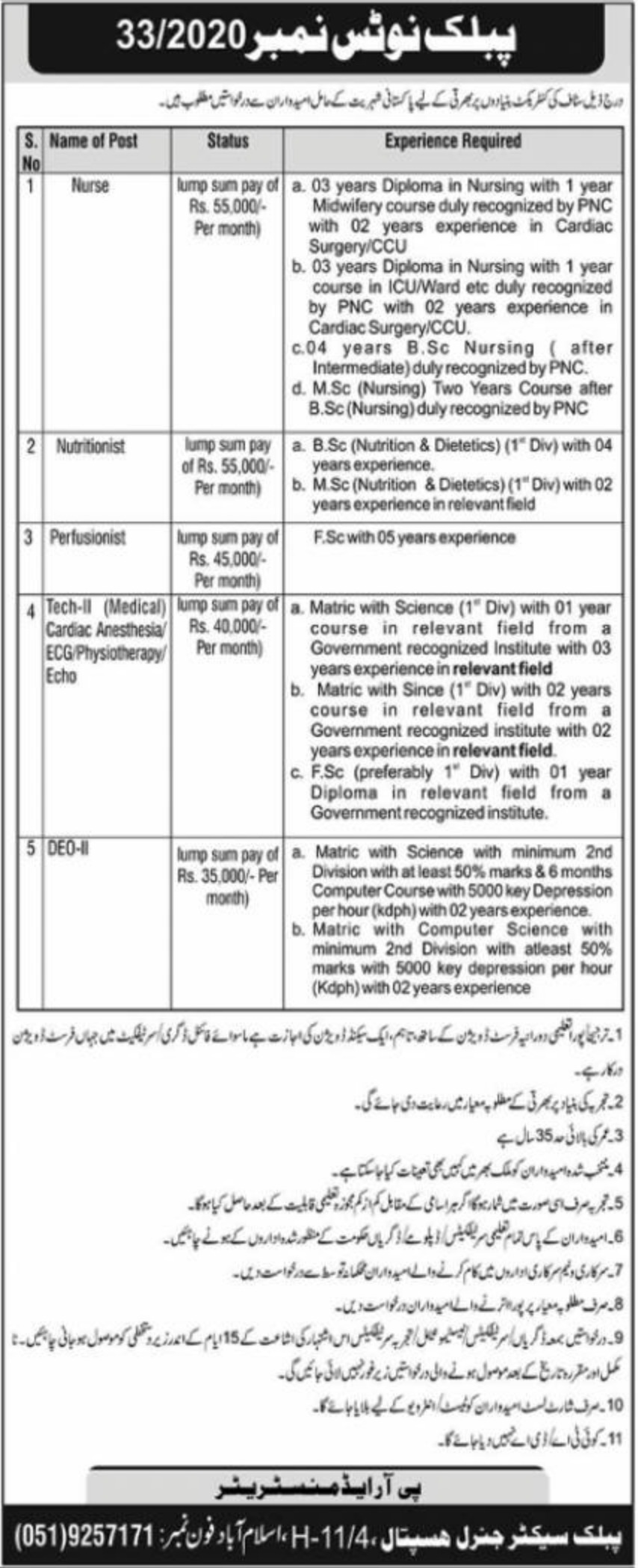 Public Sector General Hospital Islamabad Jobs December 2020