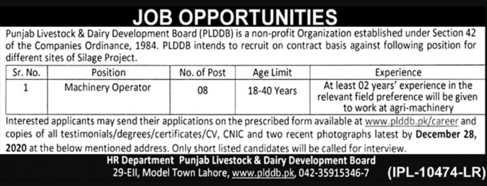 Punjab Livestock & Dairy Development Board Jobs December 2020