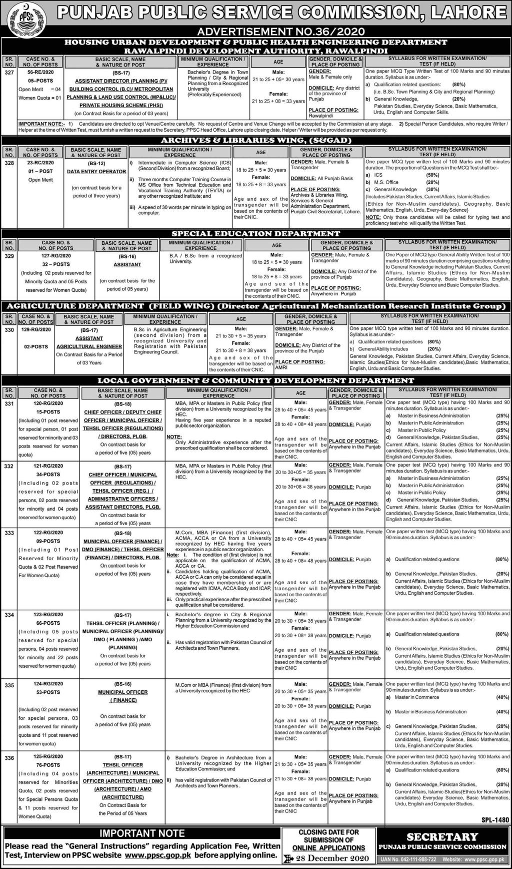 Punjab Public Service Commission PPSC Lahore Jobs December 2020