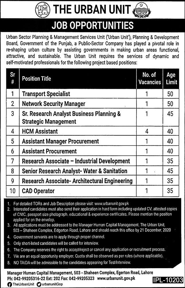 The Urban Unit Government of Punjab Jobs December 2020