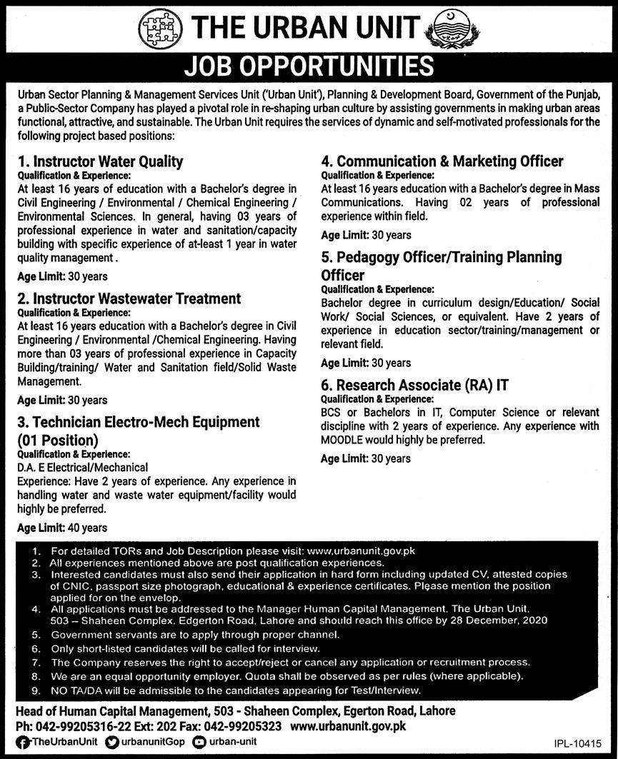 The Urban Unit Planning & Development Board Punjab Jobs December 2020