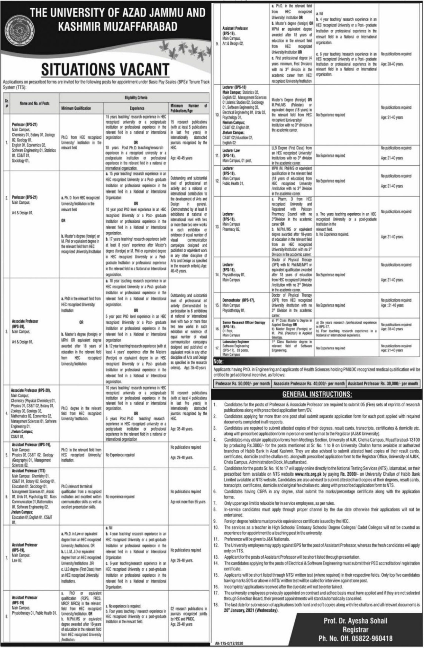 University of AJK Muzaffarabad Jobs December 2020