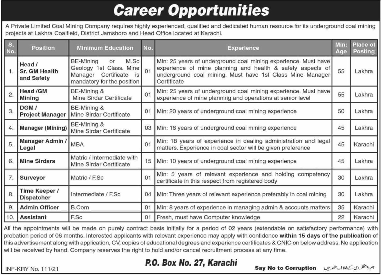 Coal Mining Company P.O.Box 27 Karachi Jobs January 2021