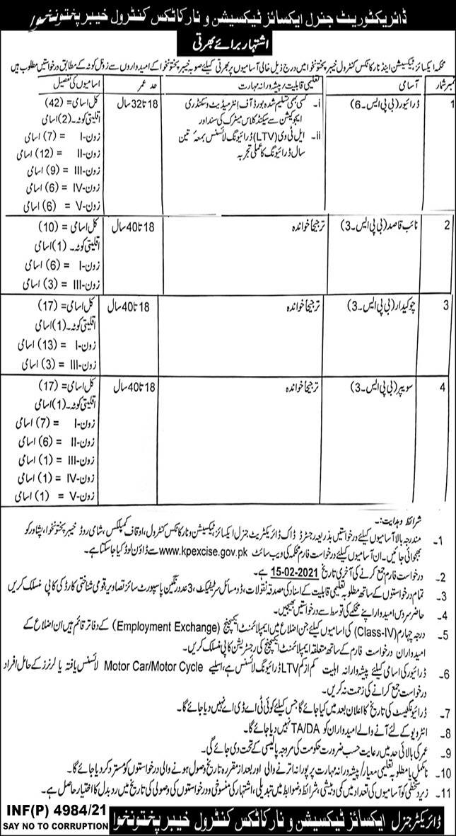 Excise Taxation & Narcotics Control Khyber Pakhtunkhwa Jobs January 2021